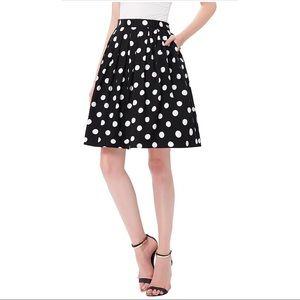 Retro Navy Polka Dot Skirt